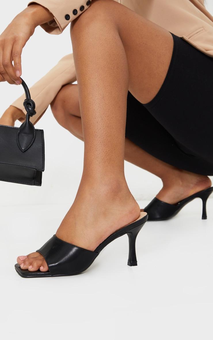 Black Square Toe Low Heel Mule 1