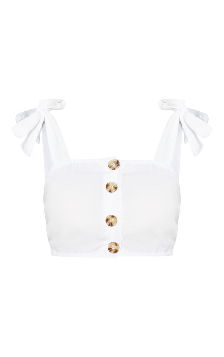 White Woven Button Up Square Neck Tie Crop Top 3