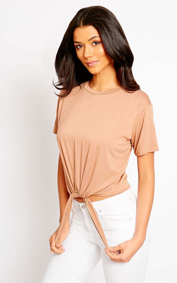 April Camel Tie Front Crop Tee 1