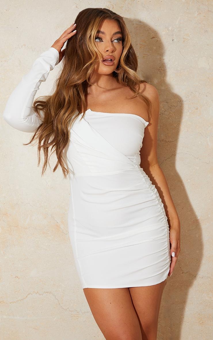 White One Shoulder Gathered Skirt Bodycon Dress 1