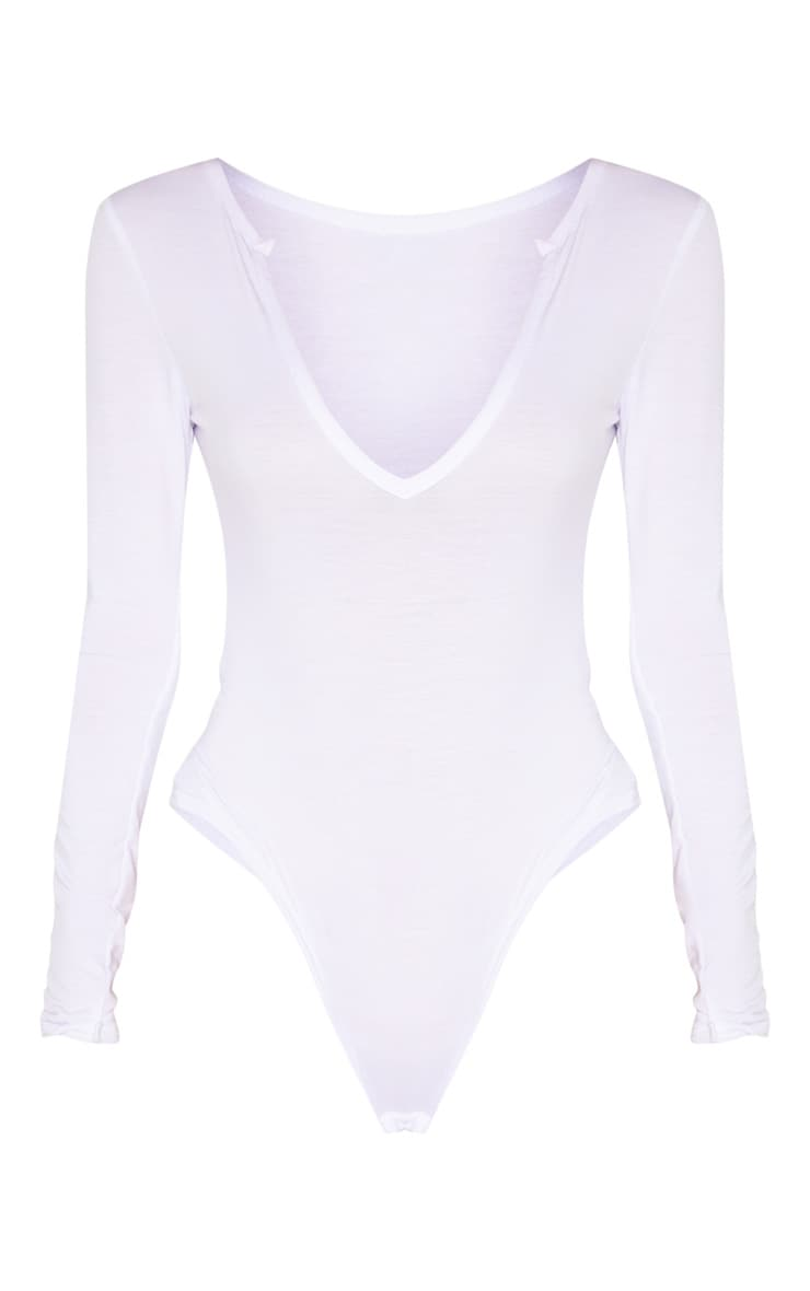 Tall White Basic Plunge Long Sleeve Bodysuit 3