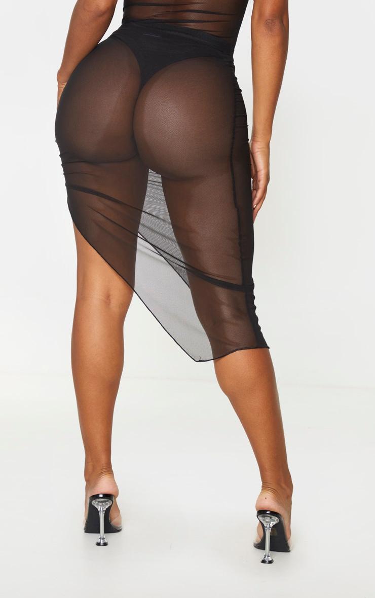 Shape Black Mesh High Waist Ruched Side Midi Skirt 3