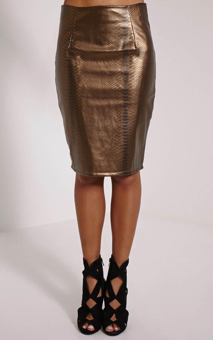 Mollie Gold Snake Print Faux Leather Midi Skirt 2