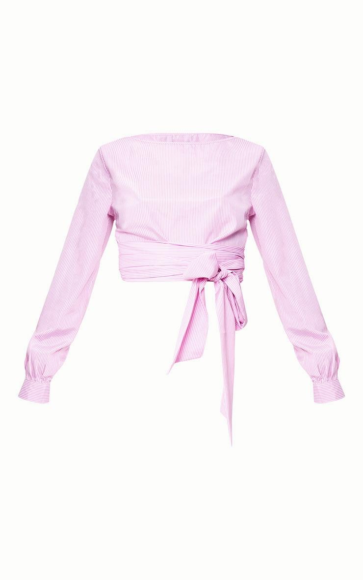 Pink Stripe Open Tie Around Crop Shirt  3