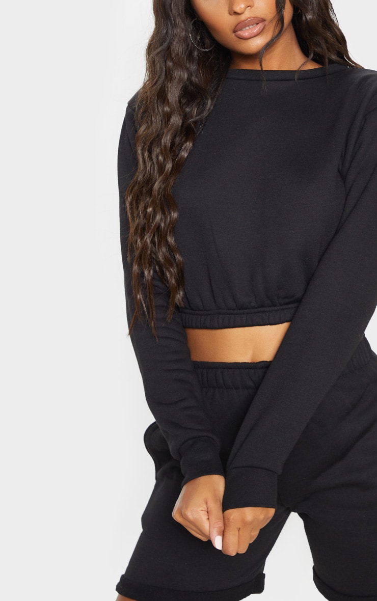 Black Crew Neck Elasticated Hem Sweater 5