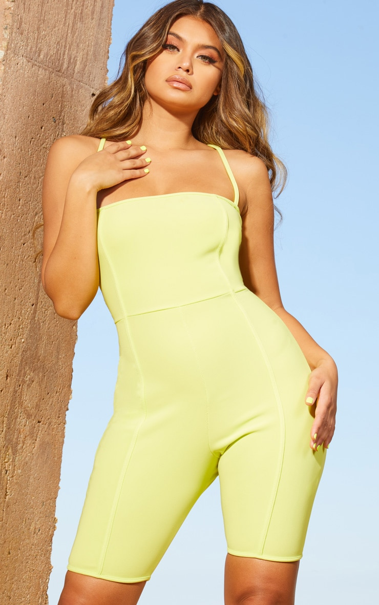 Lime Second Skin Straight Neck Binding Detail Unitard