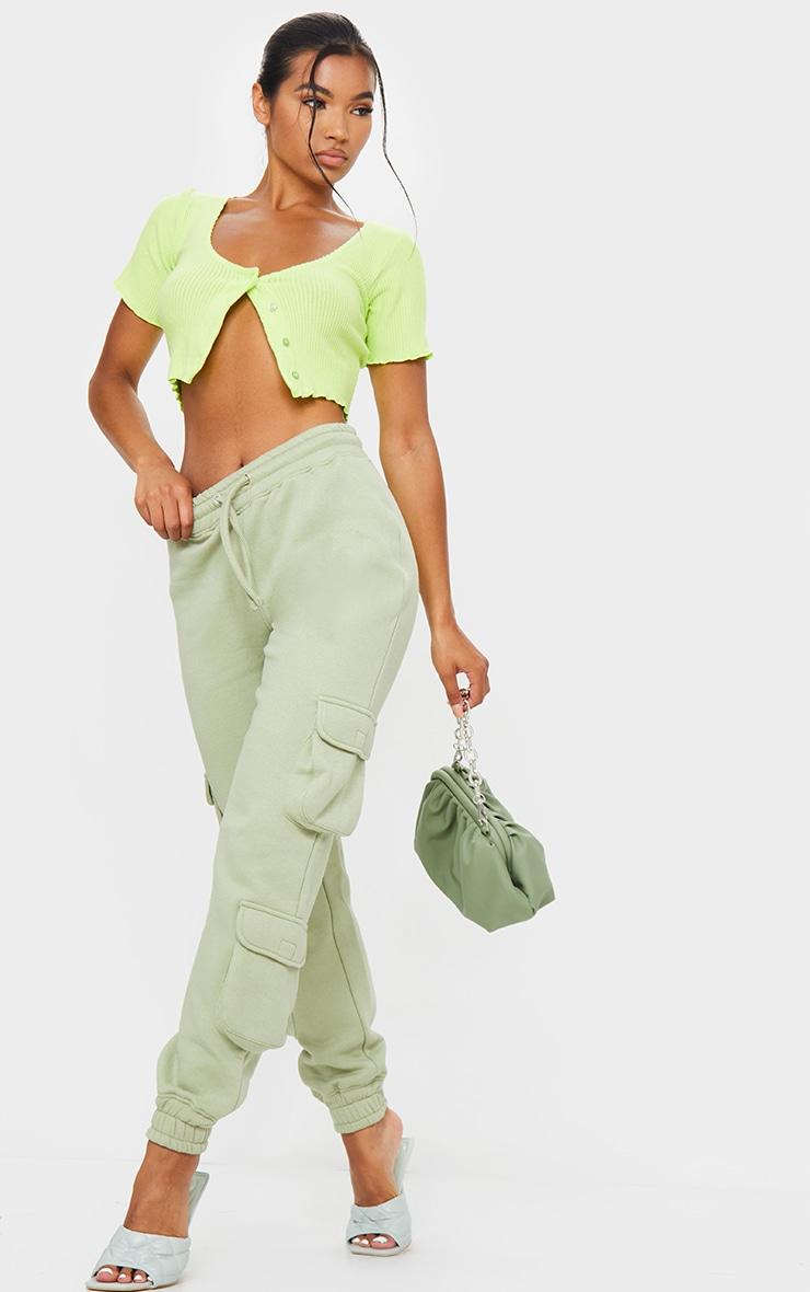 Sage Green Pocket Detail Joggers 1