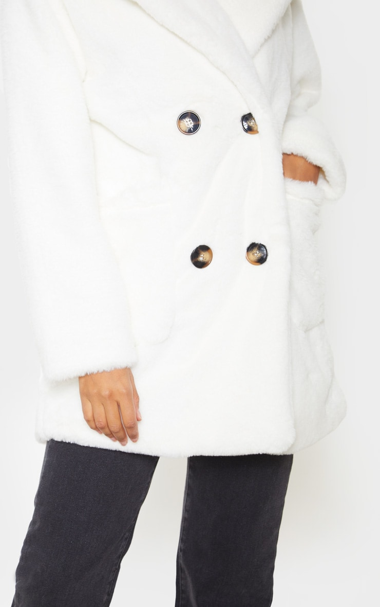 Cream Faux Fur Double Breasted Coat 5