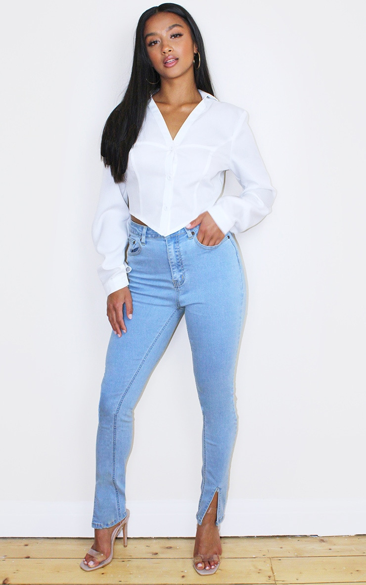 Petite Bleach Wash Split Front Jean 1