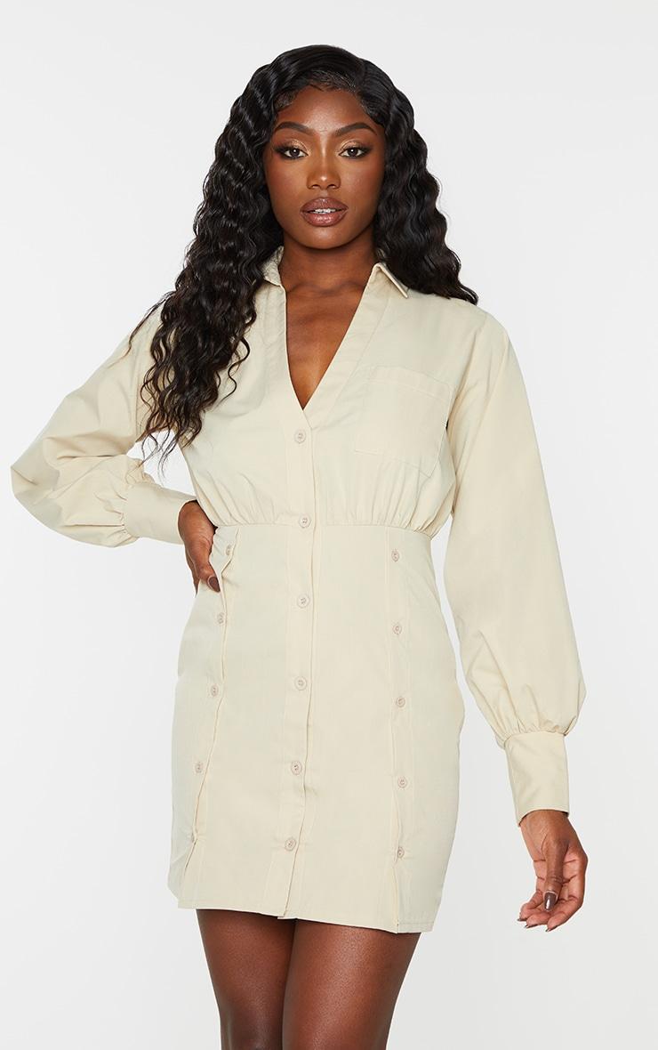 Stone Split Button Skirt Detail Shirt Dress