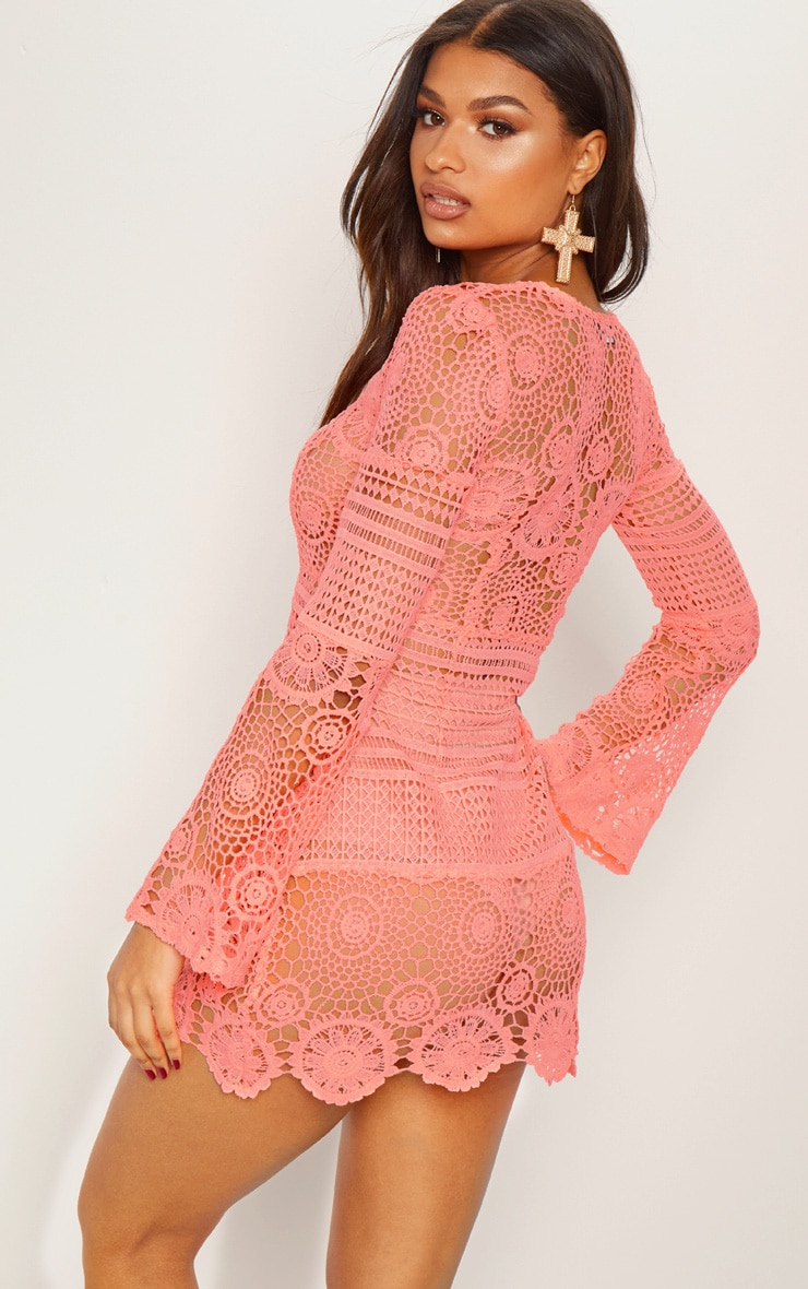 Neon Pink Tie Front Flare Sleeve Crochet Lace Shift Dress 3