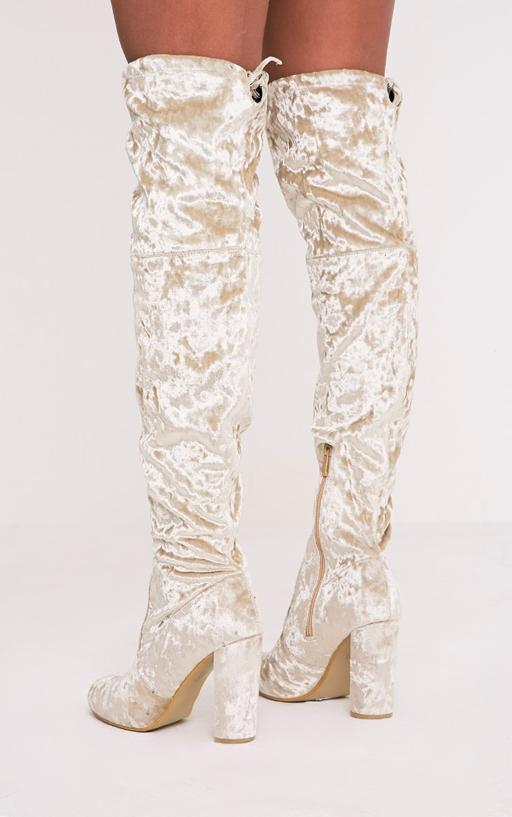 Bess Champagne Crushed Velvet Heeled Thigh Boots 5