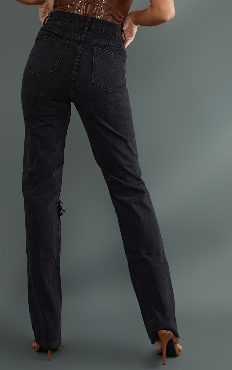 PRETTYLITTLETHING Tall Washed Black Ripped Long Leg Straight Jeans 3