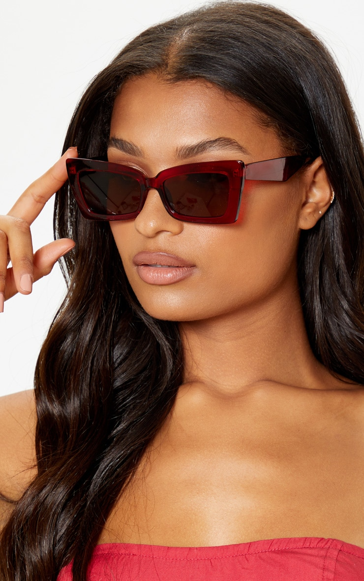 Red Oversized Angular Square Sunglasses 1