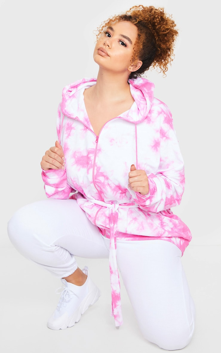 Plus Pink Tie Dye Loop Back Belted Hoodie 1