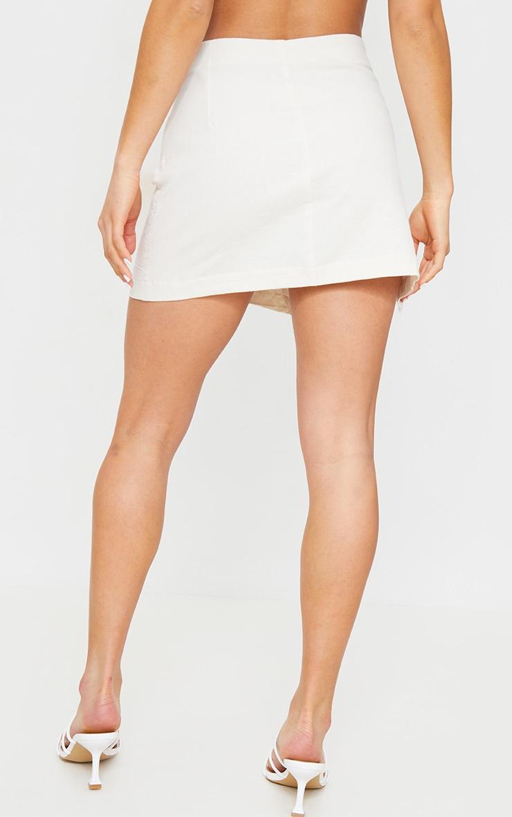Petite Stone Button Detail Linen Look Look Mini Skirt 3