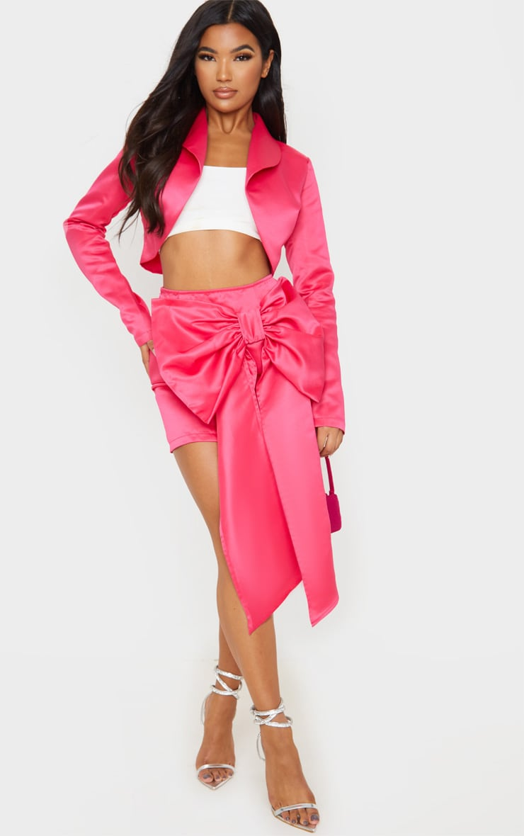 Hot Pink Satin Woven Bow Front Mini Skirt 4