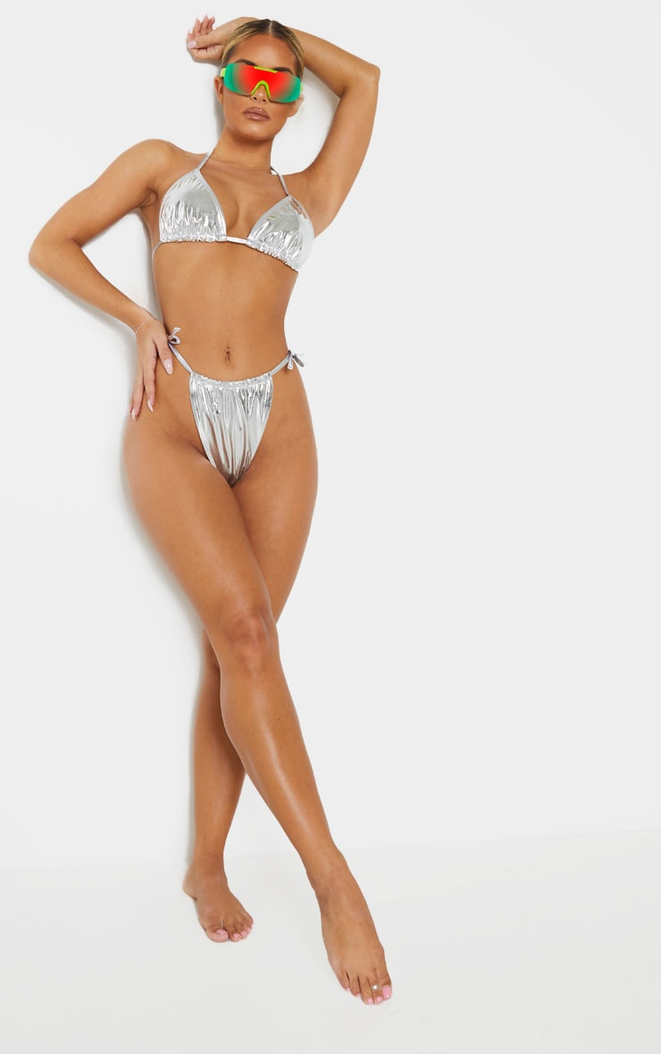 Silver Vinyl Adjustable Tie Side Bikini Bottom 5