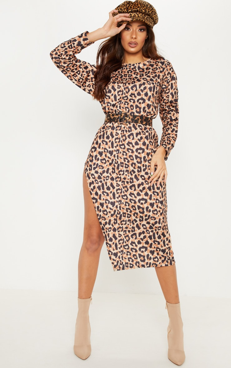 Brown Leopard Print Midi Jumper Dress 1