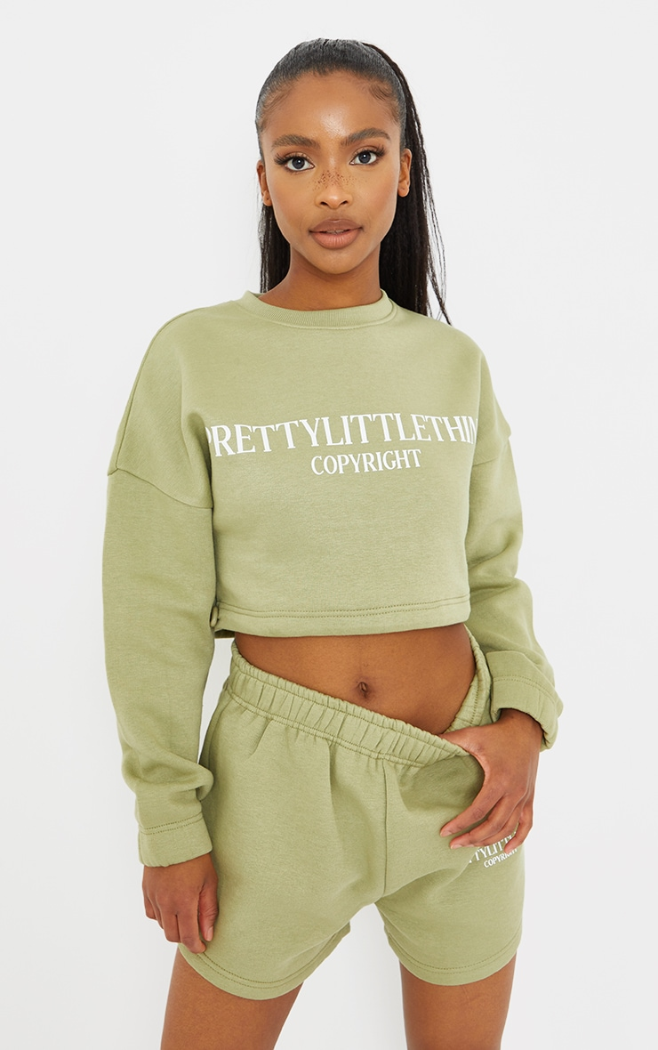 PRETTYLITTLETHING Petite Sage Green Cropped Sweater 1