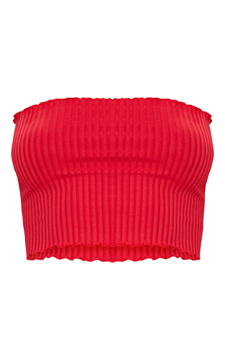 Red Rib Frill Hem Bandeau Crop Top 3