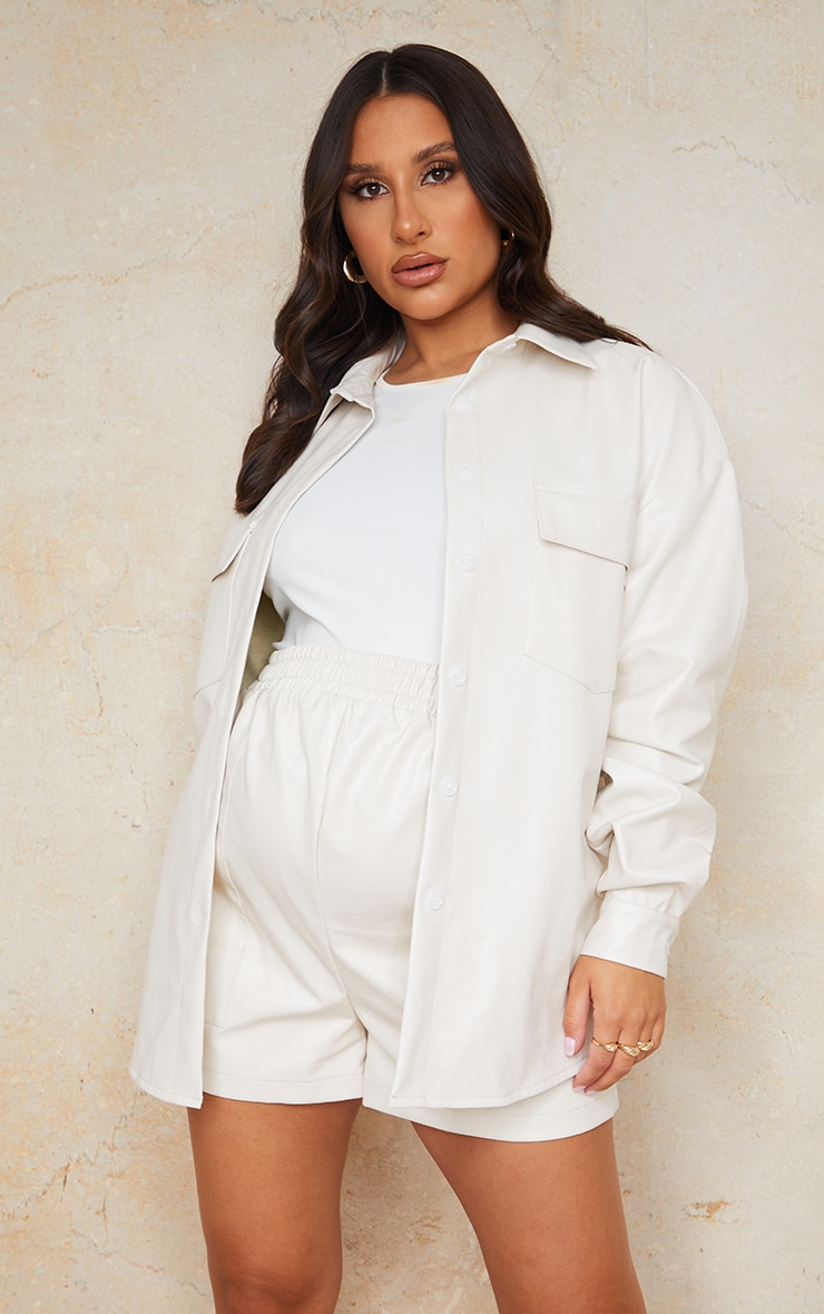 Maternity Cream Faux Leather Pocket Detail Shirt 1