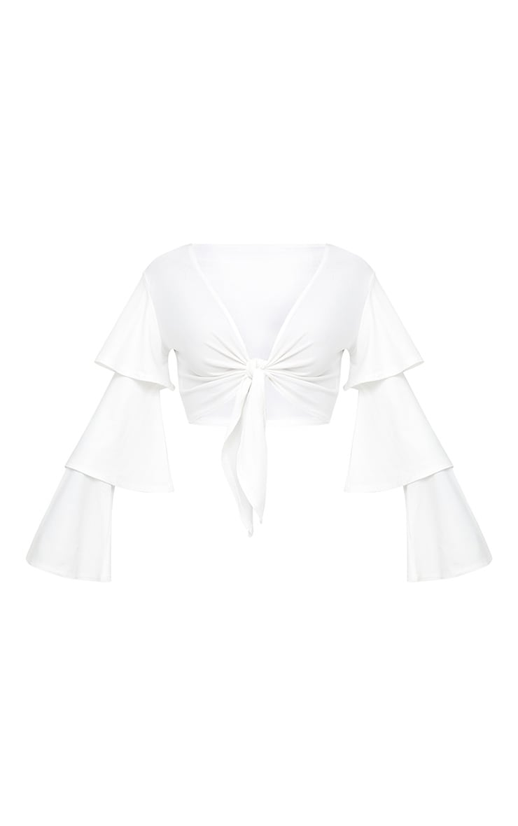 Cream Tie Front Ruffle Sleeve Top 3