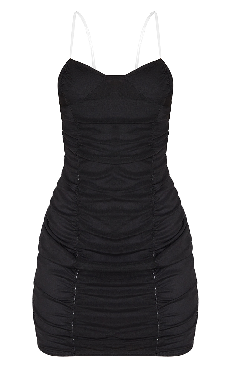 Black Mesh Ruched Cup Detail Clear Strap Bodycon Dress 5