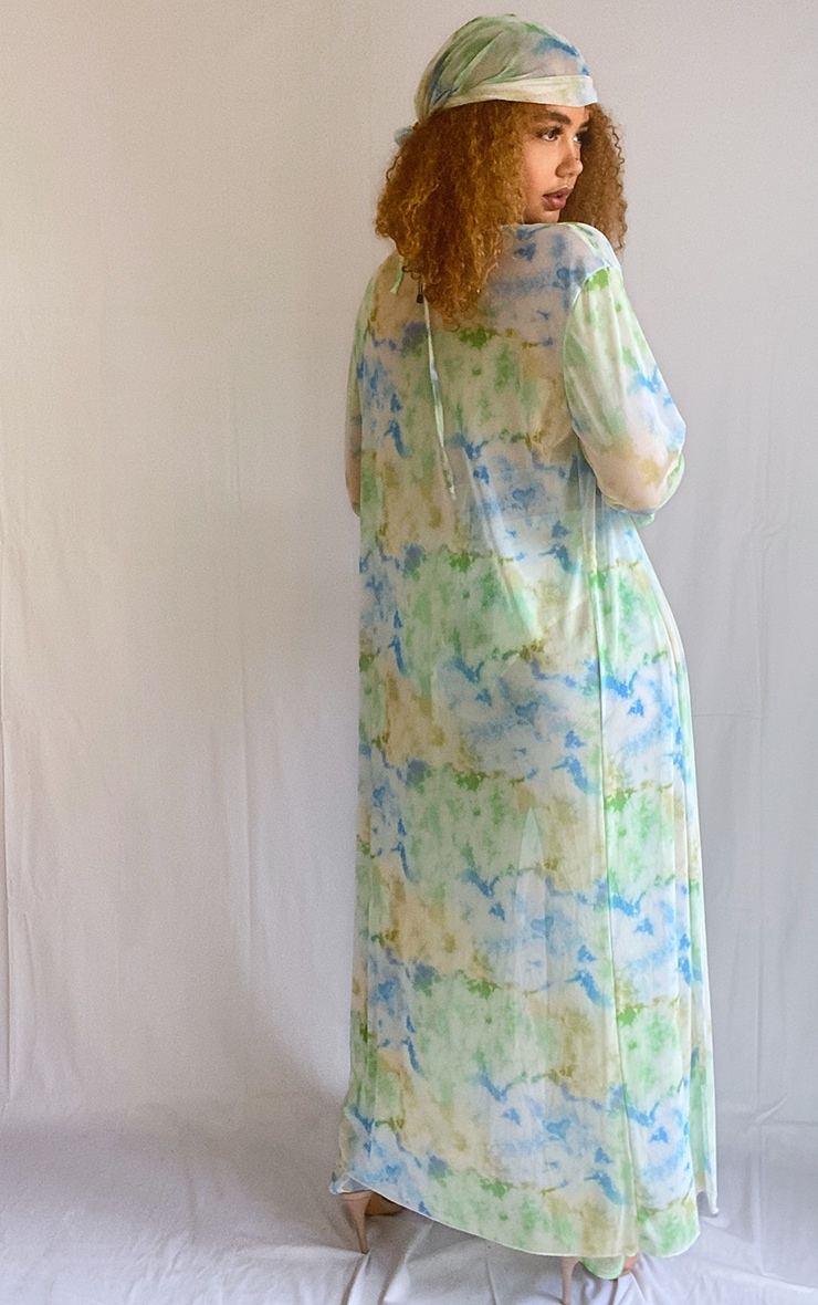 Plus Baby Blue Sheer Tie Dye Duster Jacket 2