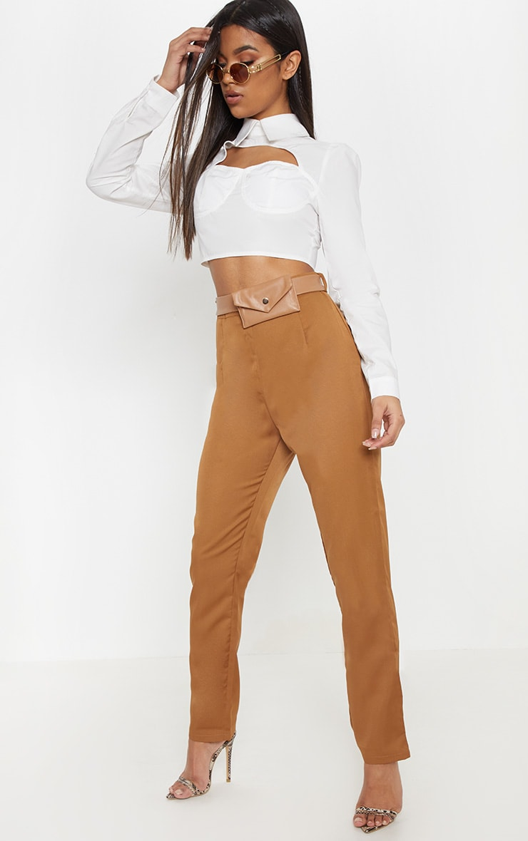 Camel Belt Bag Slim Leg Pants 1