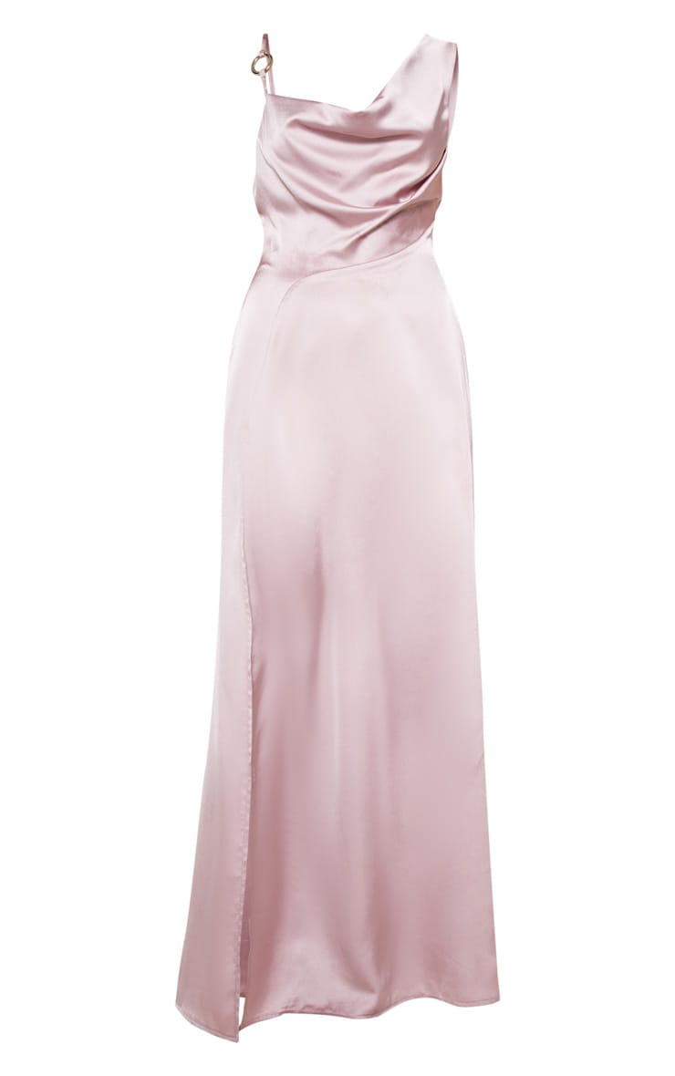 Pale Mauve Satin Ring Detail Cowl Extreme Split Maxi Dress 4