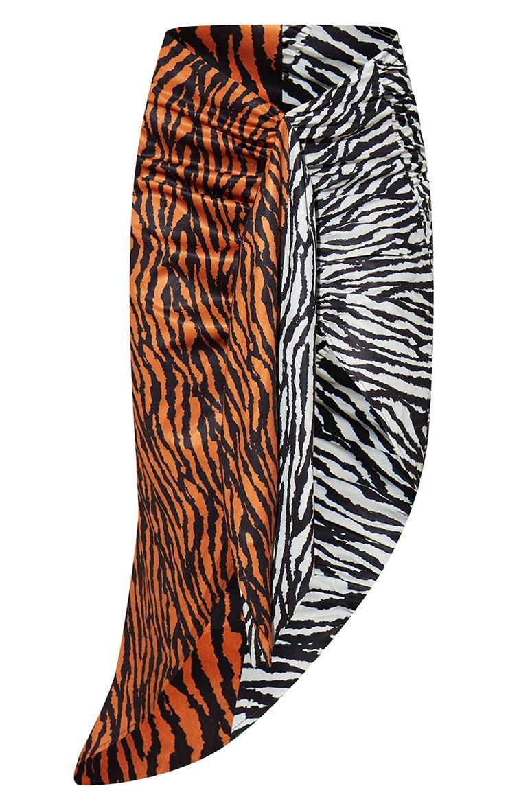 Jupe mi-longue portefeuille multicolore imprimé tigre à côté noué 5