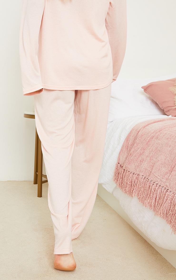 Maternity Pink Crinkle Crepe Tie Detail Wide Leg Lounge Pants 3