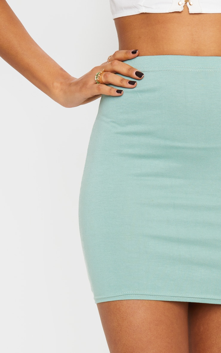 Sage Green Basic Mini Skirt 5
