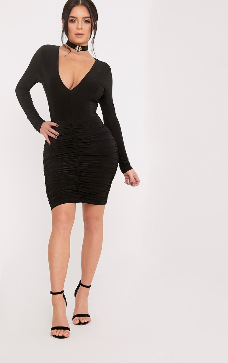 Shape Alyssah Black Slinky Ruched Mini Dress 1