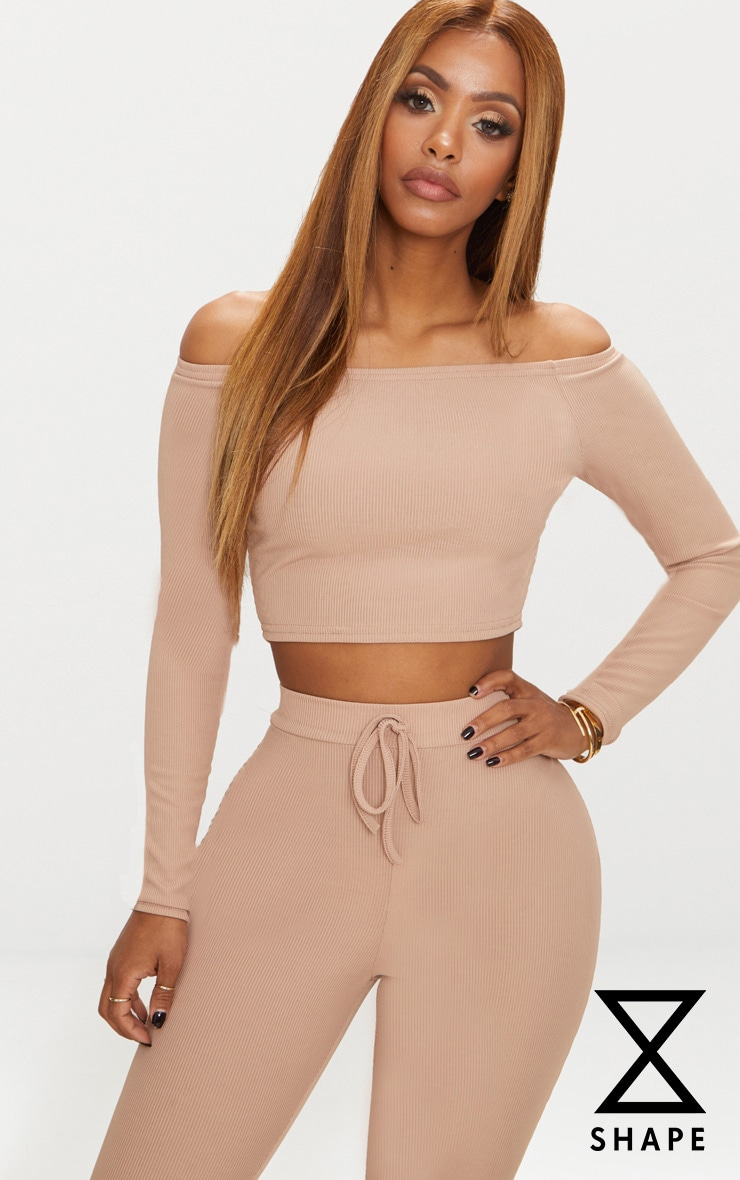 Shape Nude Ribbed Bardot Crop Top