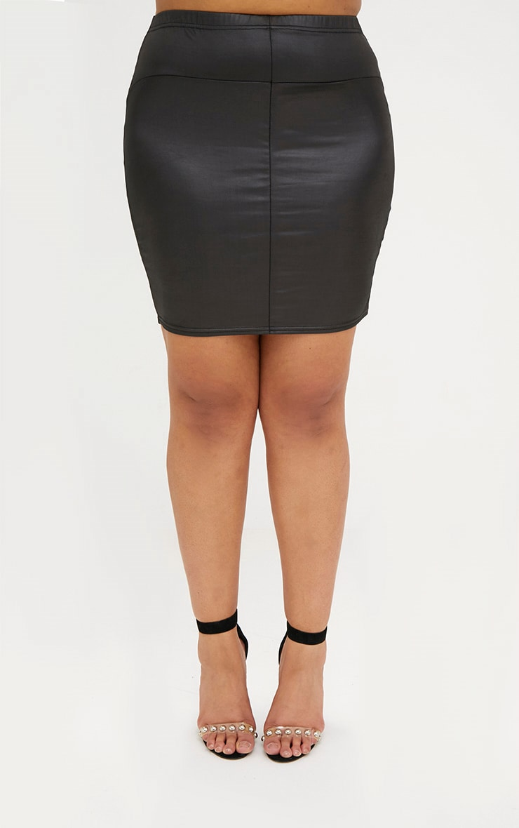 Plus Black Leather Look Mini Skirt 2