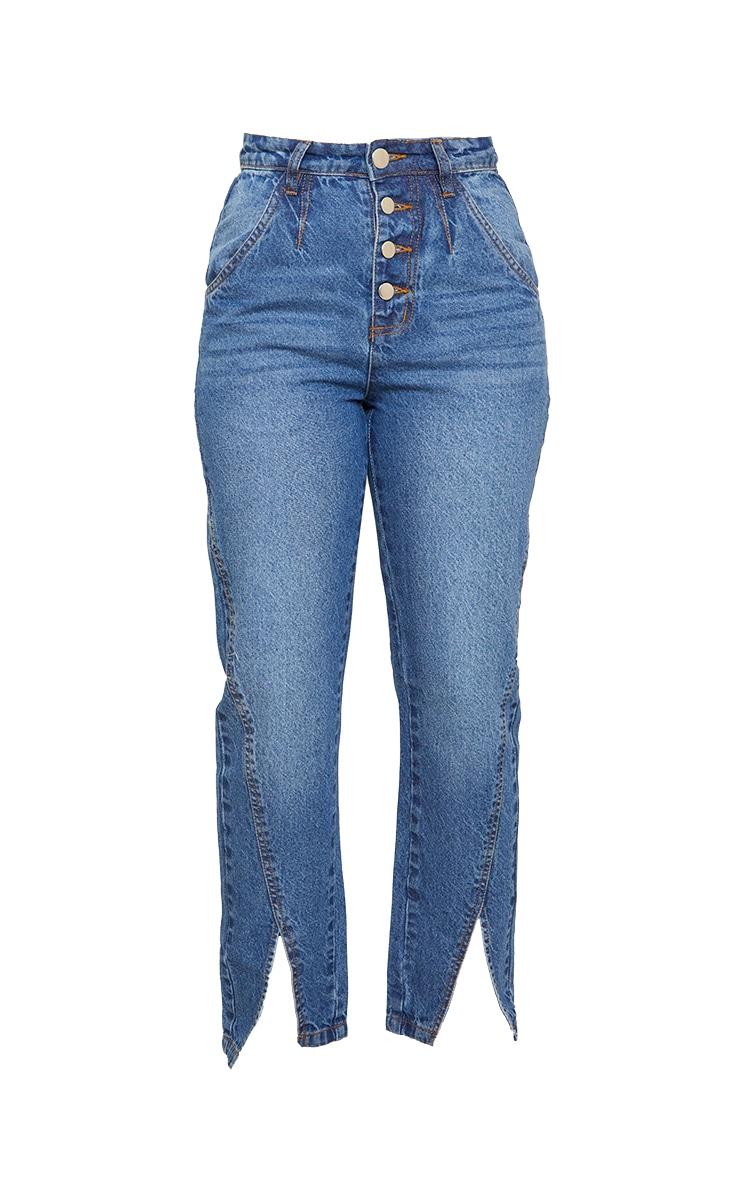 Petite Mid Blue Button Detail Split Hem Mom Jeans 5