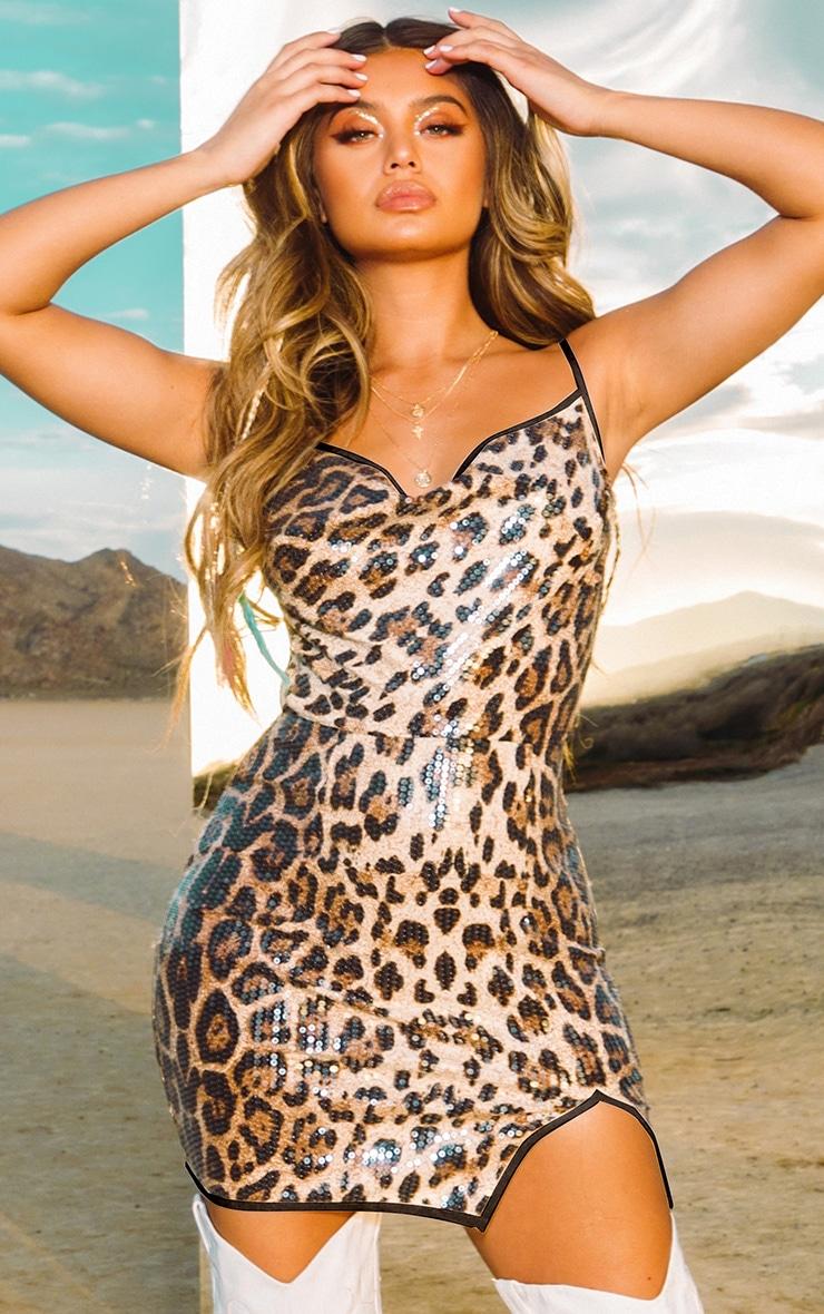 Leopard Sequin Cowl Neck Bodycon Dress 1