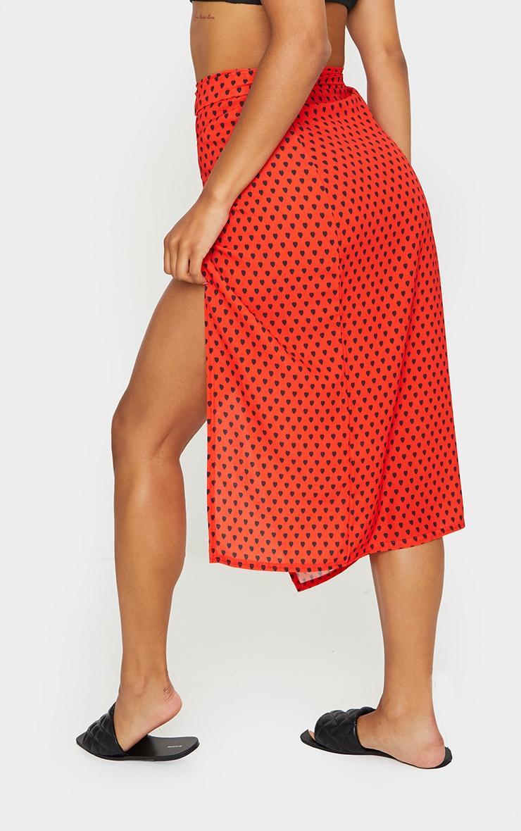 Red Heart Print Wrap Around Midi Skirt 3