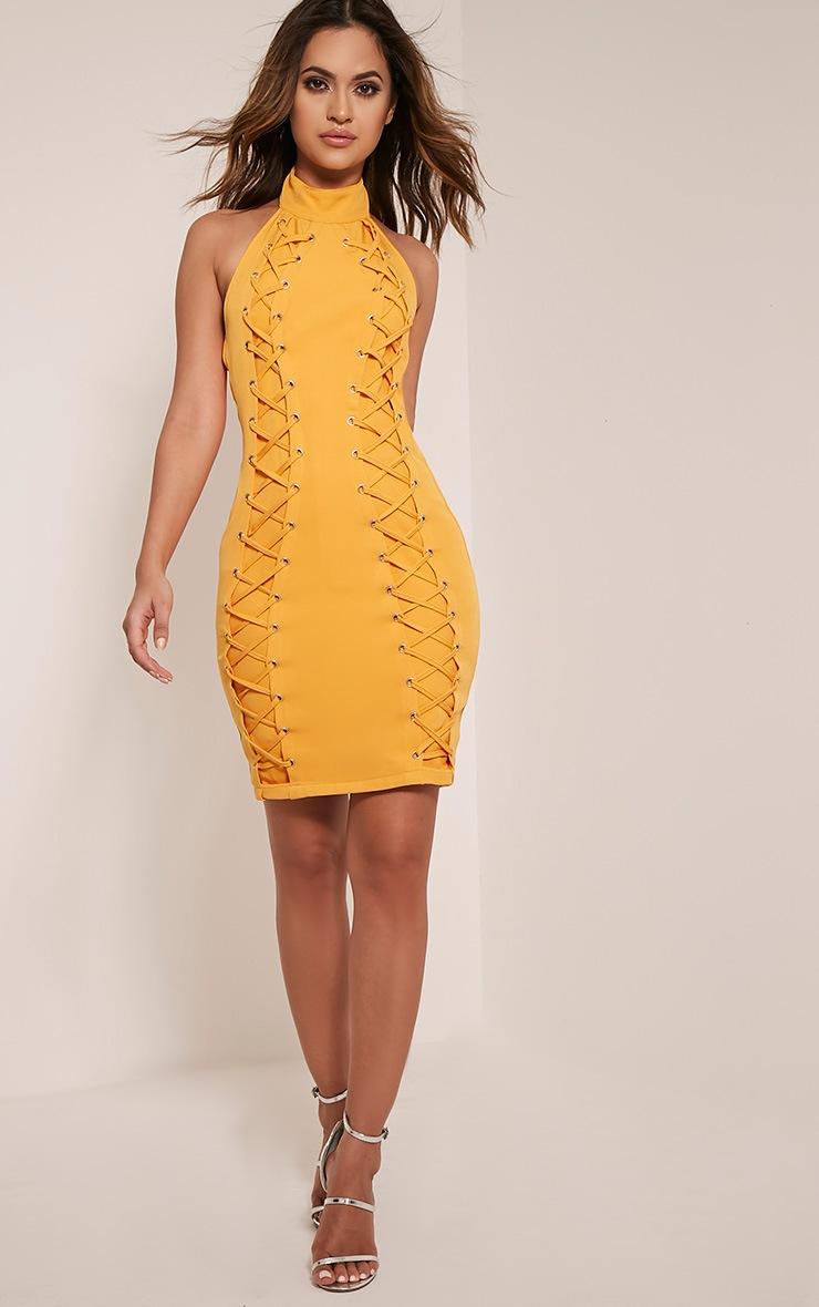 Milla Bright Orange Lace Up High Neck Bodycon Dress 5