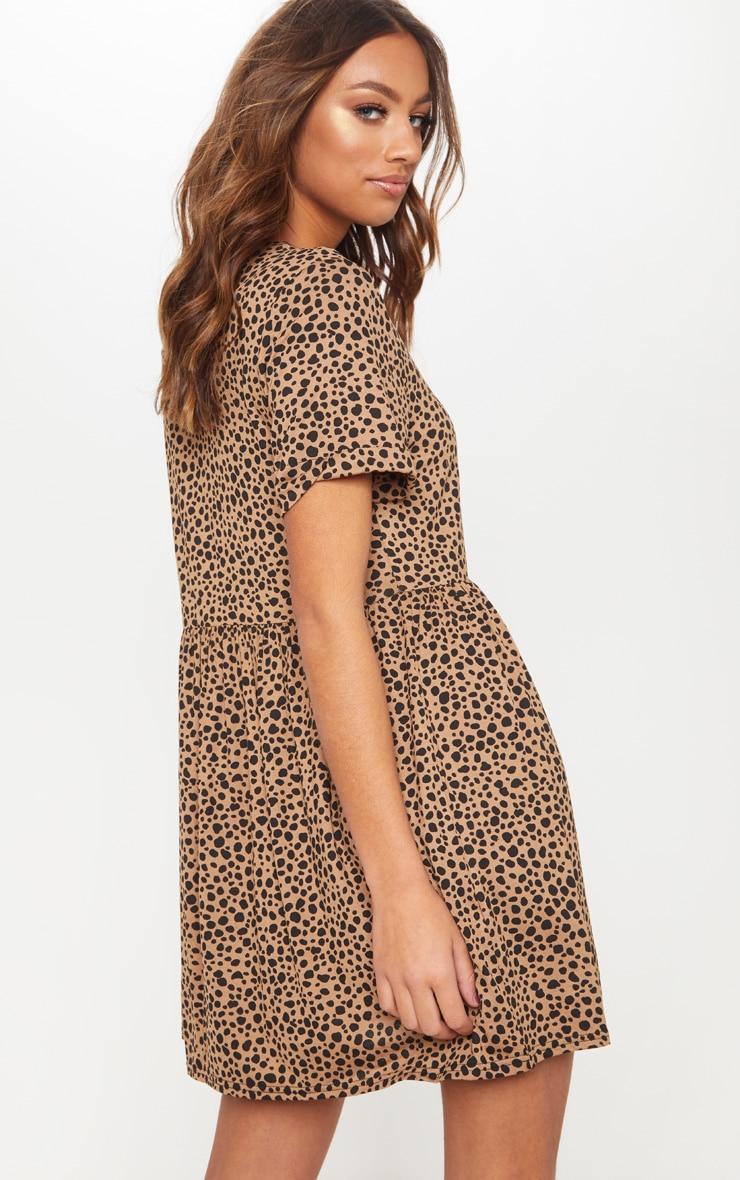 Beige Dalmatian Print Short Sleeve Smock Dress 2