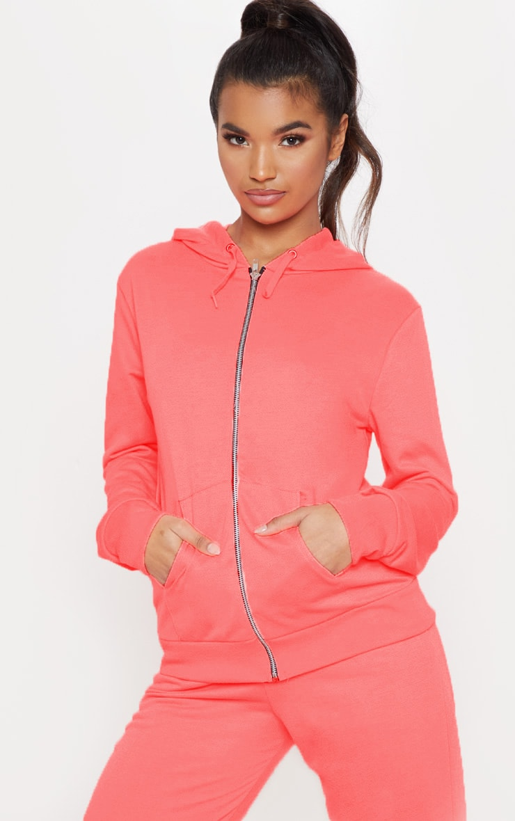 Pink Basic Gym Sweat Zip Hoodie 1