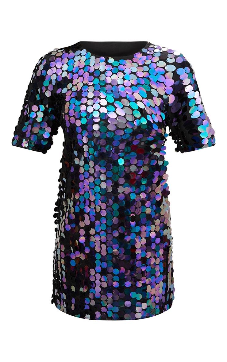 Navy Sequin T Shirt Dress 3