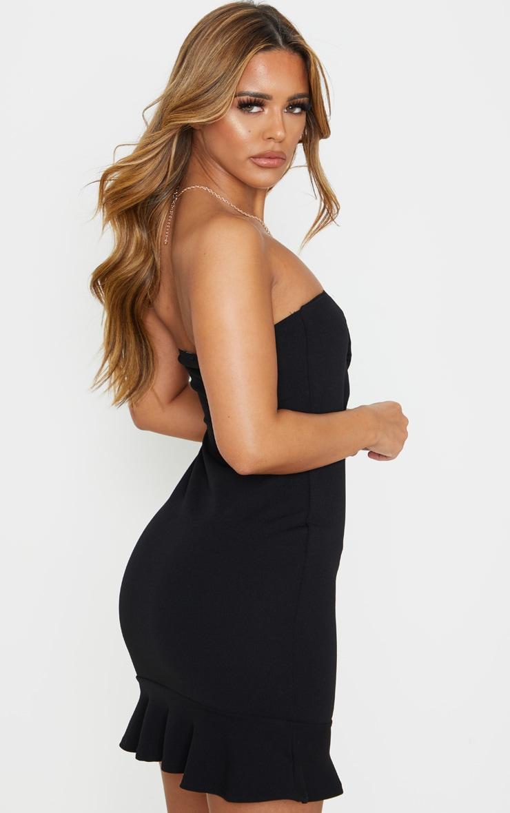 Petite Black Bardot Flippy Hem Bodycon Dress 2