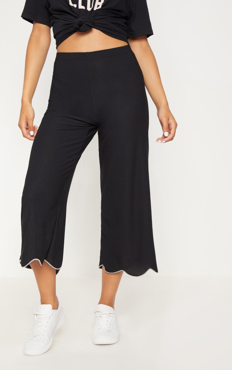 Black Crepe Scalloped Edge Culotte   2