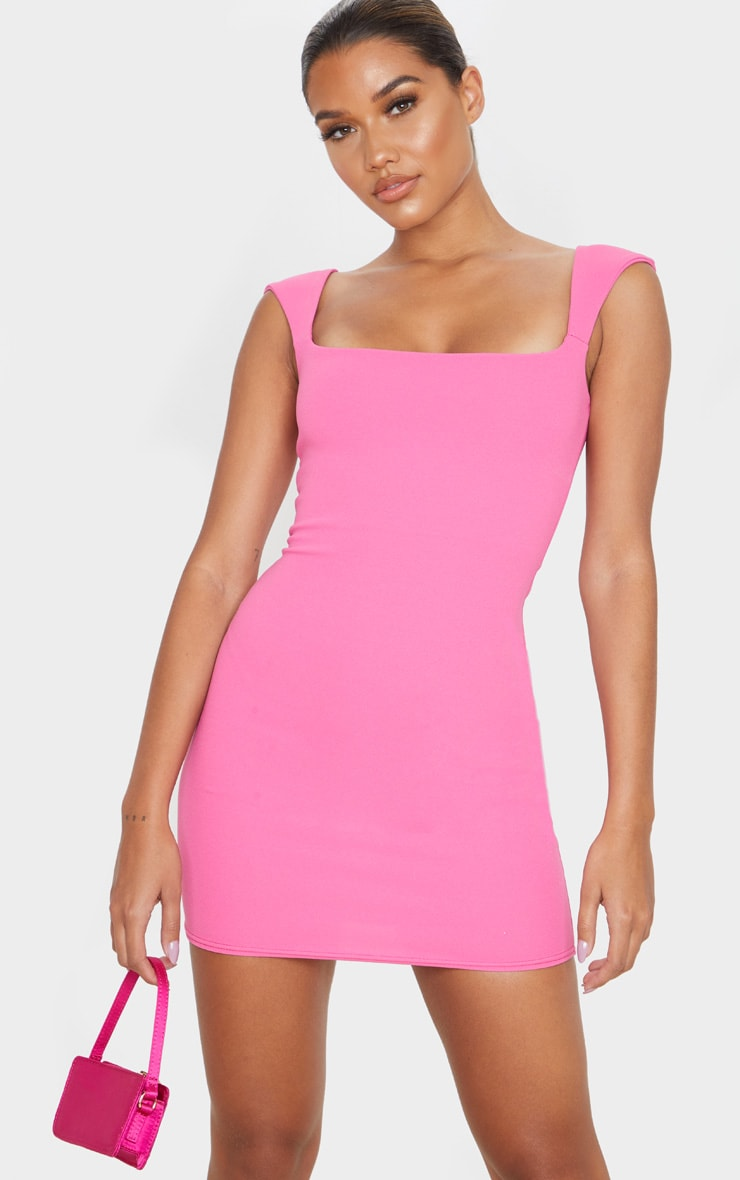 Hot Pink Sleeveless Square Neck Bodycon Dress image 1