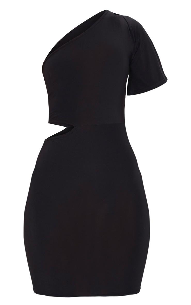 Black One Shoulder Cut Out Side Bodycon Dress 3