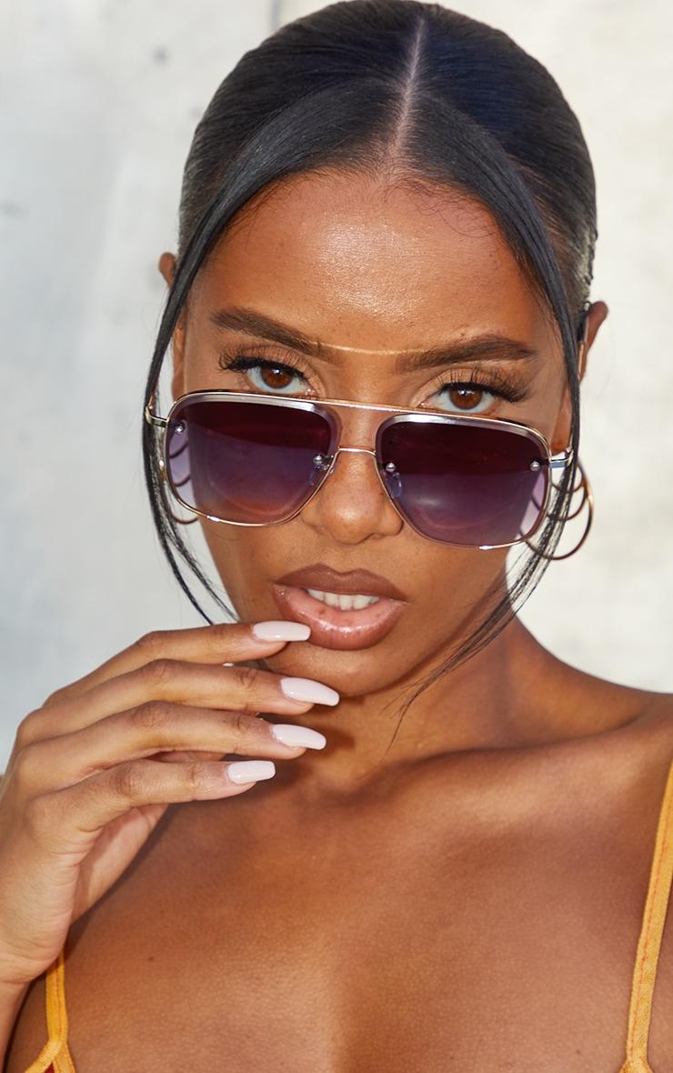 Black Faded Lens Cut Out Oversized Aviator Frame Sunglasses 2
