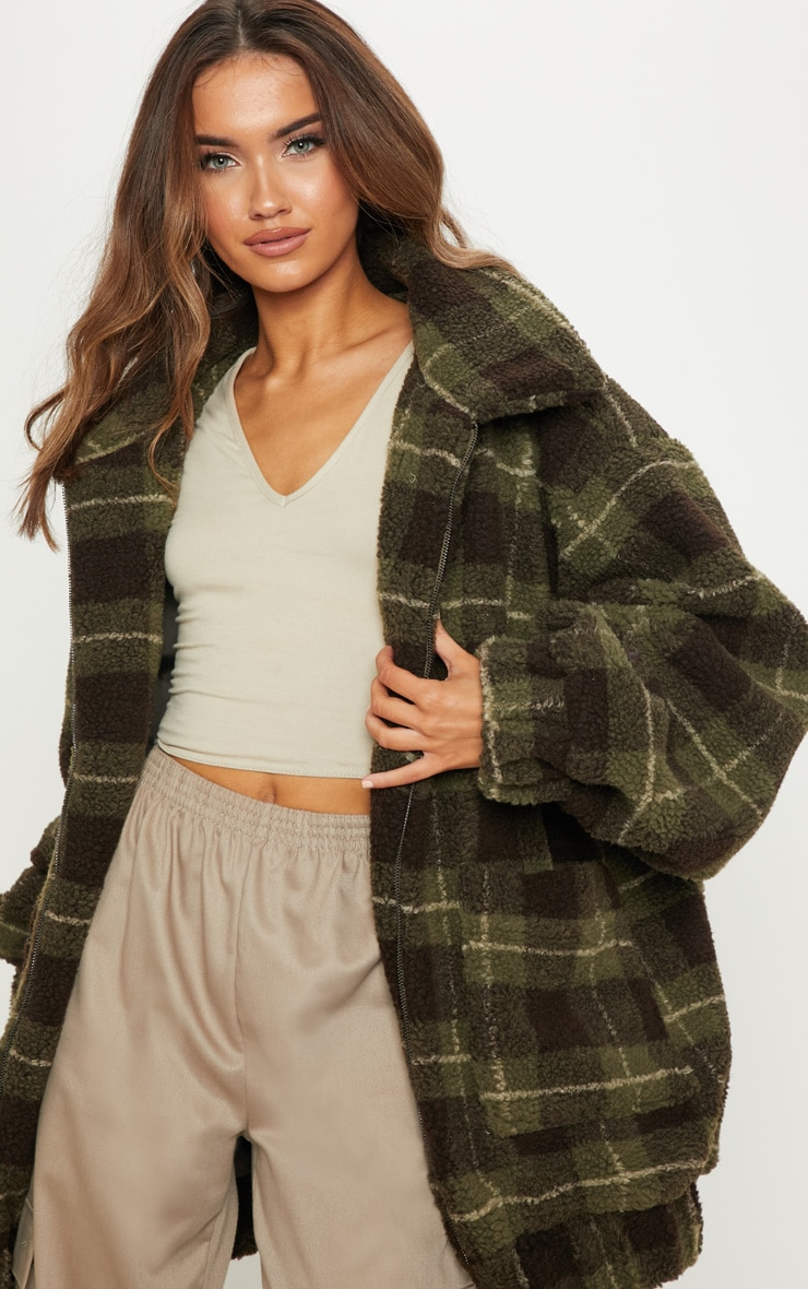 Khaki Checked Borg Jacket 1